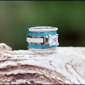 The Antler Co crushed Turquoise stackable rings.